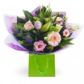 gerbera and lily aqua bouquet